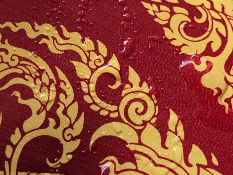 ลายไทยเทพพนม สีแดง