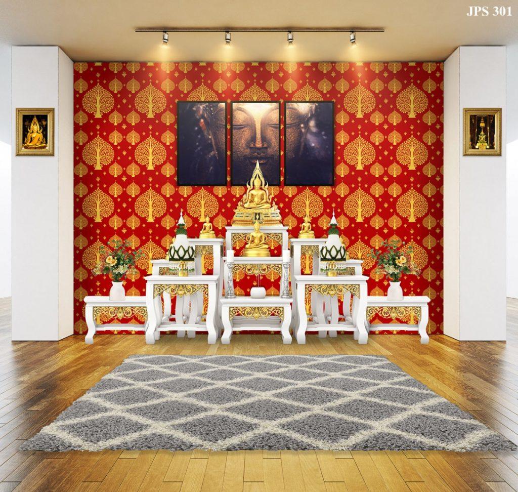 ตัวอย่างห้องพระลายต้นโพธิ์ พื้นแดง