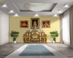 ตกแต่งห้องพระ ด้วยวอลเปเปอร์ลายกรวยเชิง สีทองพื้นขาว