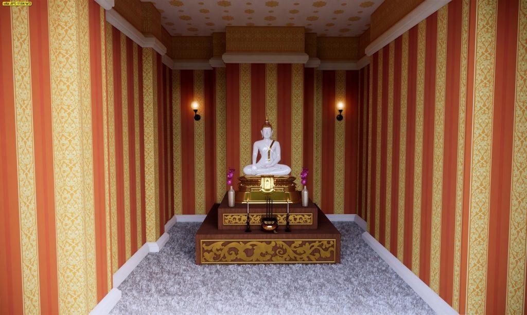 ตกแต่งห้องพระ ด้วยวอลเปเปอร์ลายนกไขว้ช่อหางโต สีเหลือง