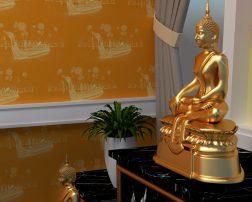 เพิ่มความสวยงาม ให้ห้องพระ ด้วยวอลเปเปอร์ติดผนังลายเรือสุพรรณหงส์ สีเหลือง