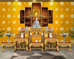 ตกแต่งห้องพระ ด้วยวอลเปเปอร์ติดผนังลายดอกดาว สีเหลือง