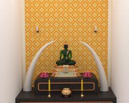 ออกแบบห้องพระด้วยตนเองง่ายๆ ด้วยวอลเปเปอร์ติดผนังลายดอกประจำยาม สีเหลือง