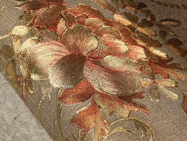 ลายหลุยส์ดอกไม้พื้นเทาทอง