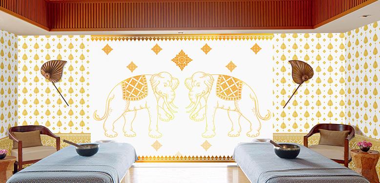 วอลเปเปอร์ภาพวิวลายช้างคู่ สีขาว -ทอง รหัส THAI-12