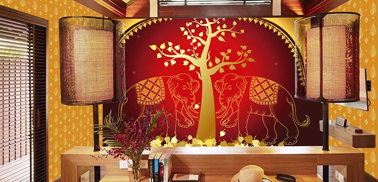 วอลเปเปอร์ภาพวิวลายช้างคู่ไทย สีแดง-ทอง รหัส THAI-16