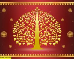 Gold tree and thai pattern style