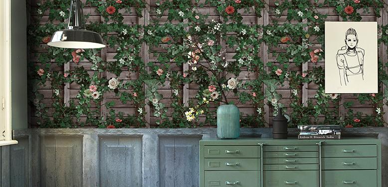 วอลเปเปอร์ติดผนังลายกำแพง ดอกไม้เลื้อย สีเขียว รหัส 59201