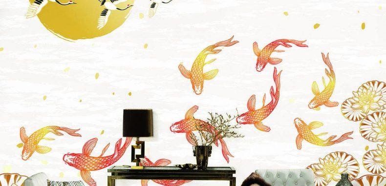 วอลเปเปอร์สั่งพิมพ์ ปลาคราฟ ฮวงจุ้ย ภาพมงคล