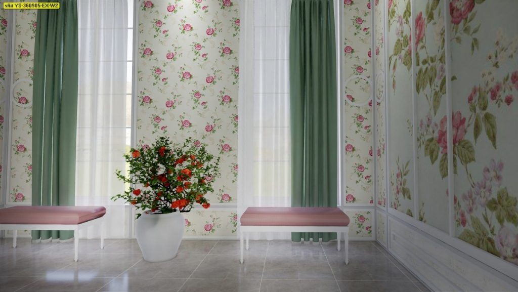 วอลเปเปอร์โทนสีครีมลายดอกไม้