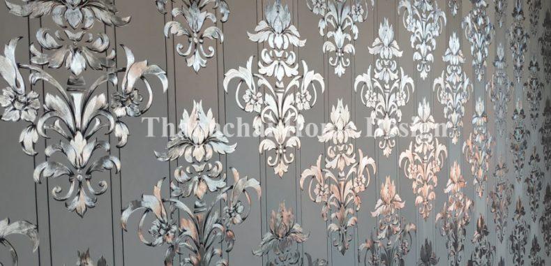 วอลเปเปอร์ลายหลุยส์พื้นเงิน รีวิวจากร้าน Thanachai Home Design