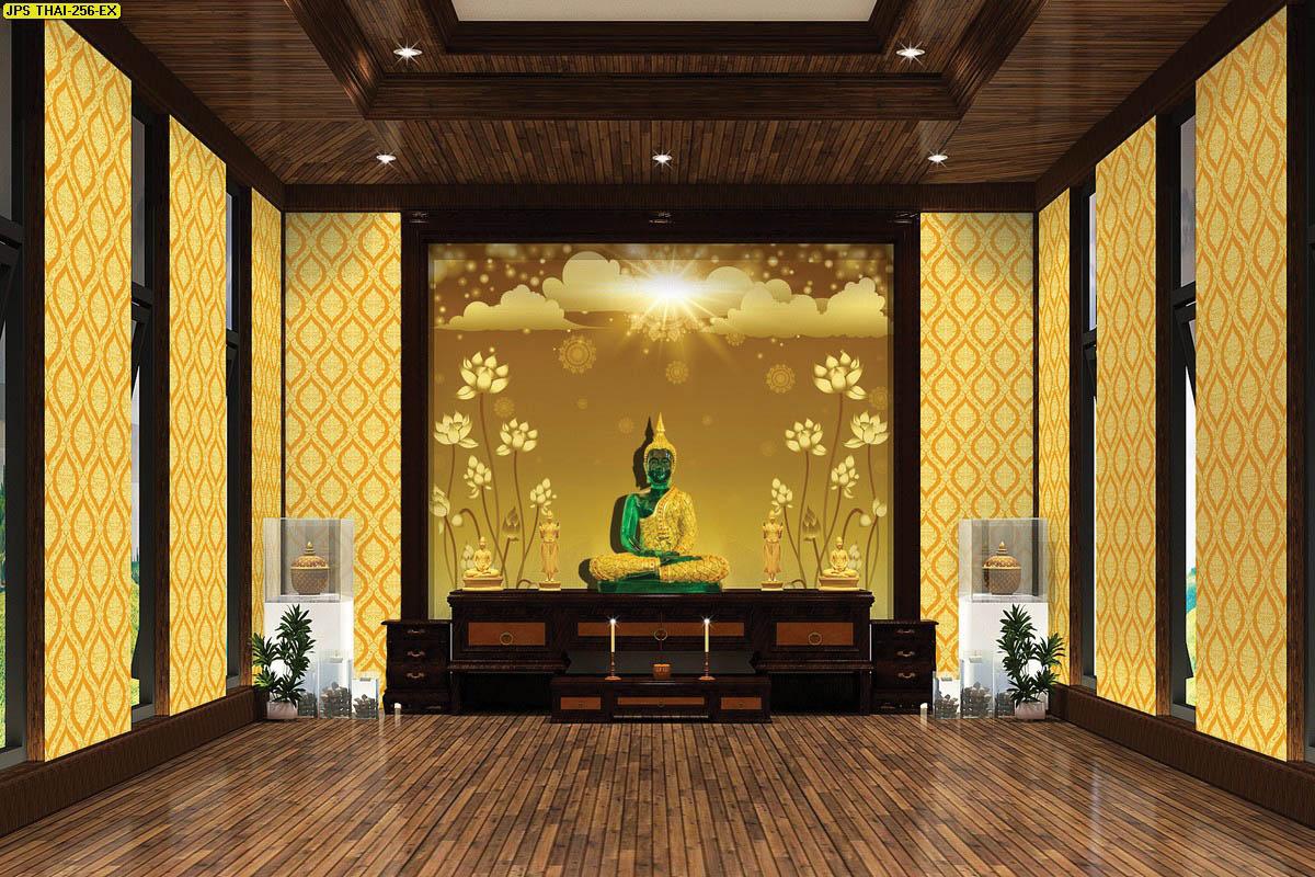ตกแต่งห้องพระ วอลเปเปอร์สั่งพิมพ์ลายดอกบัวทอง พื้นน้ำตาลทอง