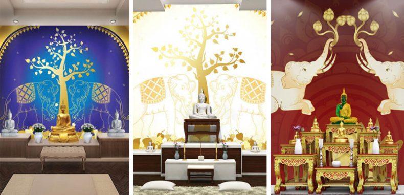 9 ไอเดีย ห้องพระสวยด้วยวอลเปเปอร์สั่งทำตามแบบ ลายช้างคู่ไทย