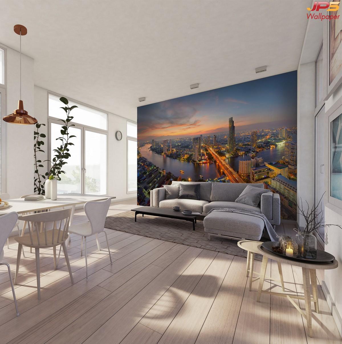 วอลเปเปอร์ผนังลายวิวตึกสูง ภาพเมืองสวยๆ ภาพแสงสีในเมืองติดผนัง สั่งตัดภาพติดผนัง รูปภาพติดผนังแสงสีในเมือง