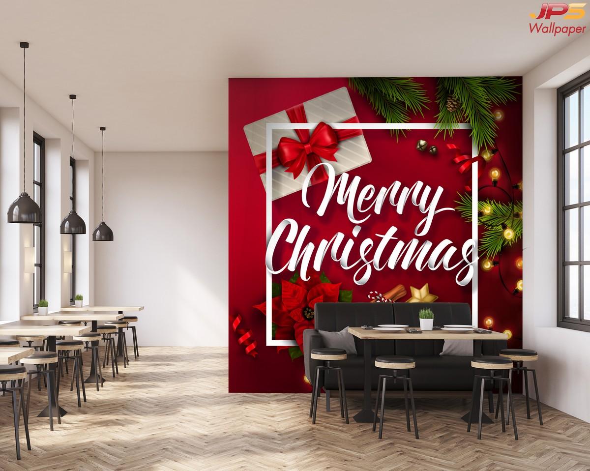 วอลเปเปอร์ลายห้องอาหาร ลายคริสต์มาส ตกแต่งห้องอาหารสีแดง