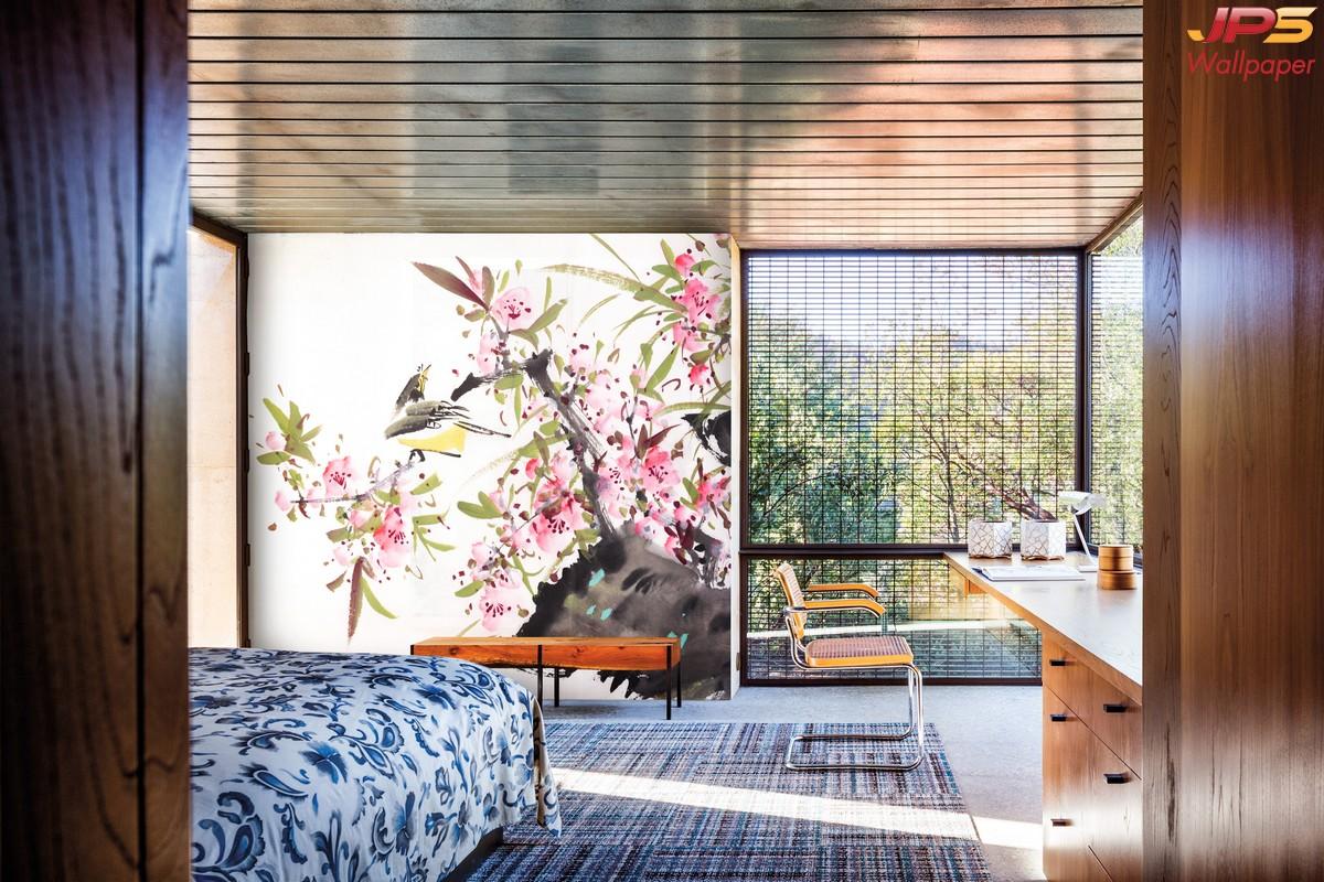 วอลเปเปอร์ผนังลายสวนป่าพื้นขาว ผนังดอกไม้สีชมพูตกแต่งห้องนอน สั่งตัดภาพธรรมชาติลายใบไม้ดอกไม้ tropical style wallpaper