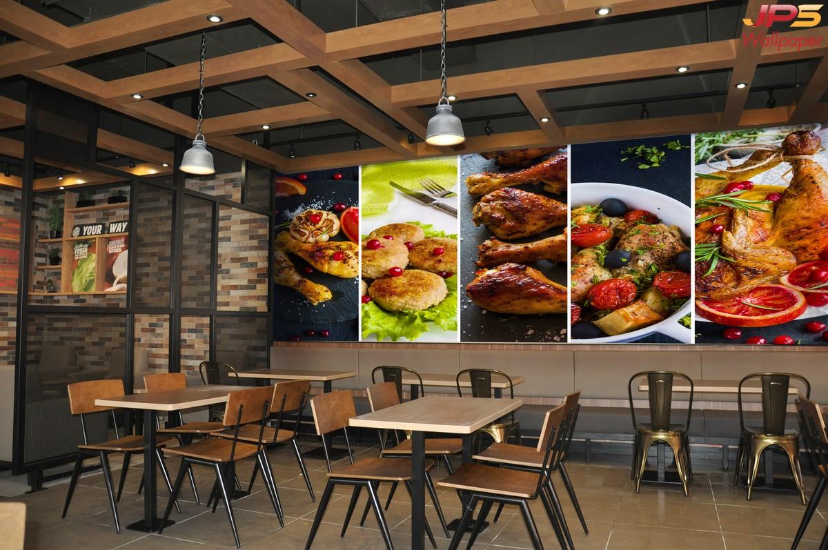 วอลเปเปอร์ลายห้องอาหาร ตกแต่งร้านอาหาร