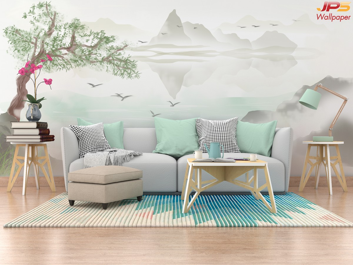 วอลเปเปอร์สั่งพิมพ์ภาพวิวตามหลักฮวงจุ้ย ภาพธรรมชาติ ภาพภูเขา ภาพภูเขาติดผนัง ฮวงจุ้ยกับห้องนั่งเล่น