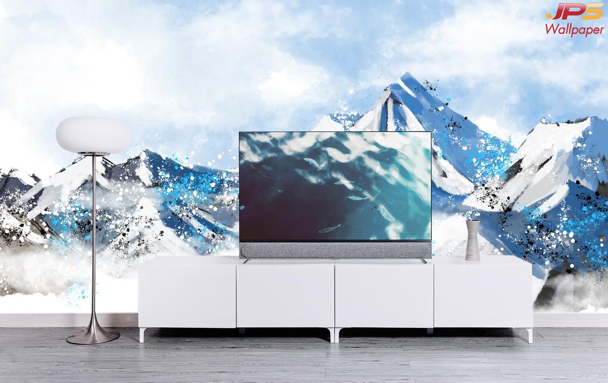 วอลเปเปอร์สั่งพิมพ์ภาพวิวตามหลักฮวงจุ้ย ภาพธรรมชาติ ภาพภูเขาหิมะ ภาพภูเขาติดผนัง ฮวงจุ้ยกับห้องนั่งเล่น
