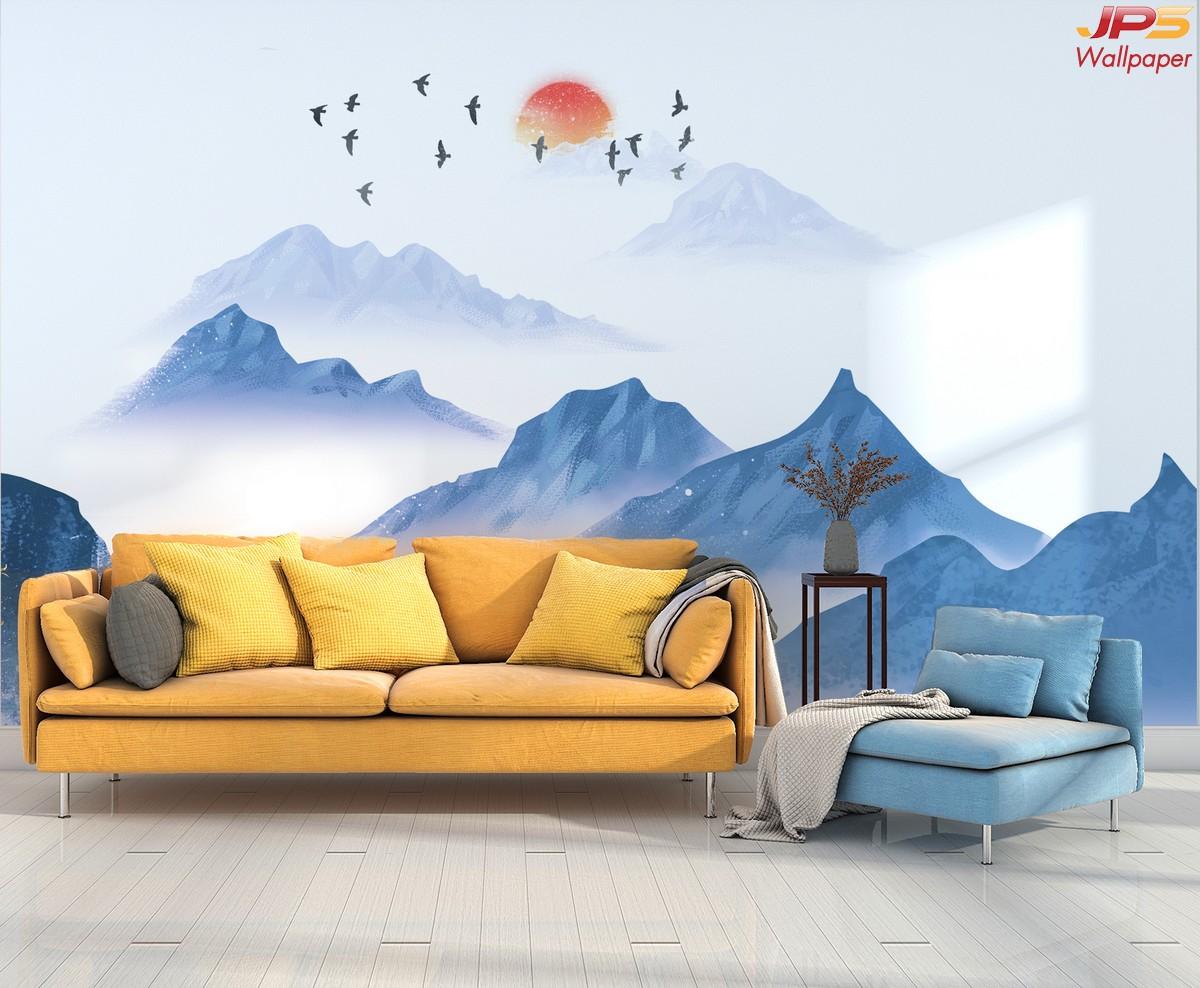 วอลเปเปอร์สั่งพิมพ์ภาพวิวตามหลักฮวงจุ้ย ภาพธรรมชาติ ภาพนกติดผนัง ภาพภูเขาติดผนัง ฮวงจุ้ยกับห้องนั่งเล่น