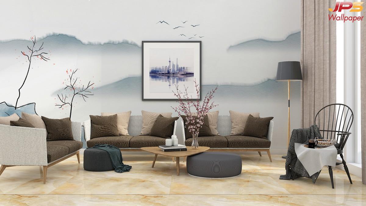 วอลเปเปอร์สั่งพิมพ์ภาพวิวตามหลักฮวงจุ้ย ภาพลายเส้นธรรมชาติ ภาพภูเขา ภาพภูเขาติดผนัง ฮวงจุ้ยกับห้องนั่งเล่น