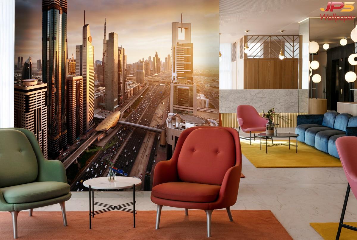 วอลเปเปอร์ผนังลายวิวตึกสูง ภาพเมืองสวยๆ ภาพแสงสีในเมืองติดผนัง สั่งตัดภาพวิวตึกติดผนัง รูปภาพวิวเมืองติดผนัง