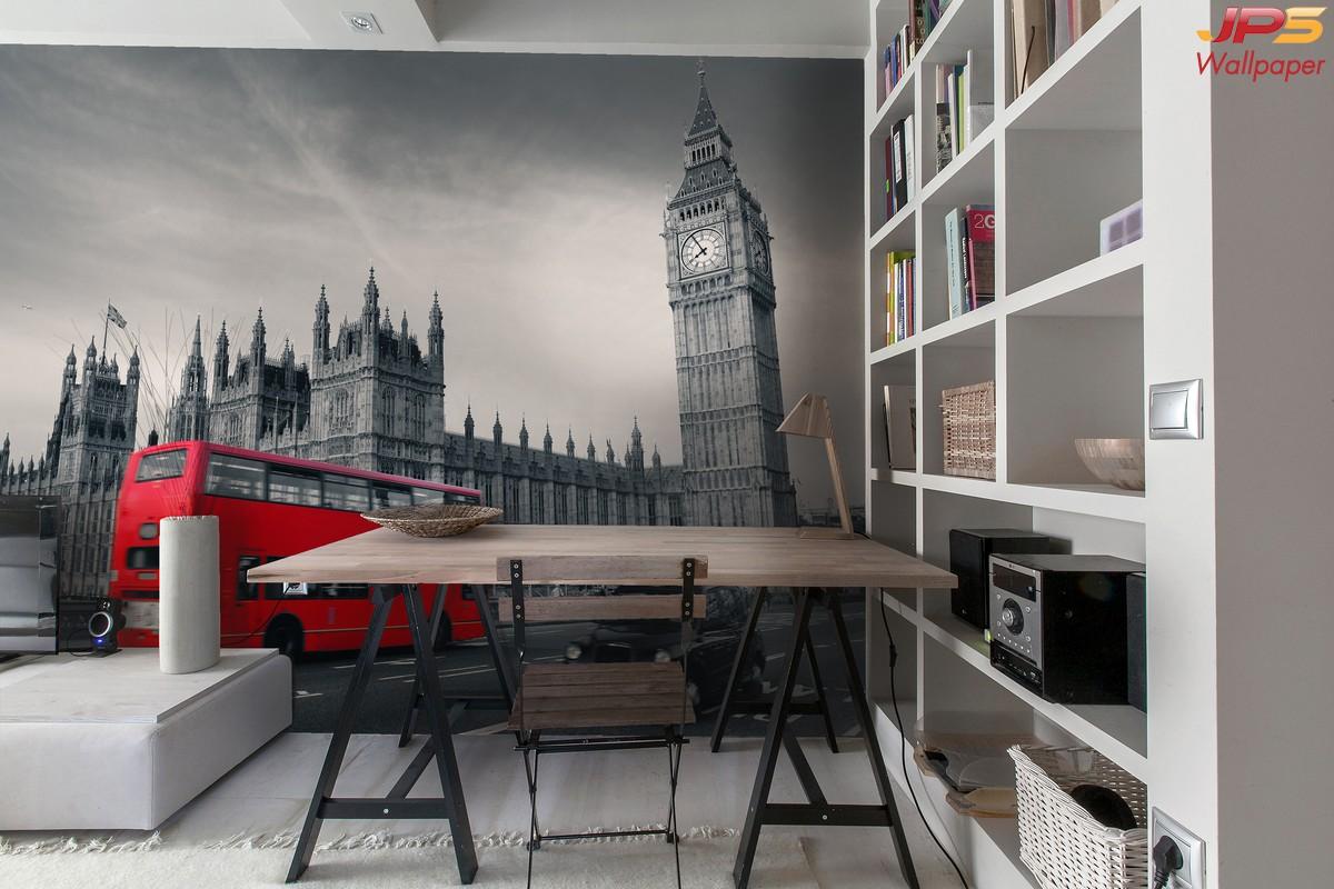 วอลเปเปอร์ผนังลายลอนดอน สั่งตัดภาพบิ๊กเบนติดผนัง วอลเปเปอร์ลายบิ๊กเบน ตกแต่งผนังห้องนั่งเล่น