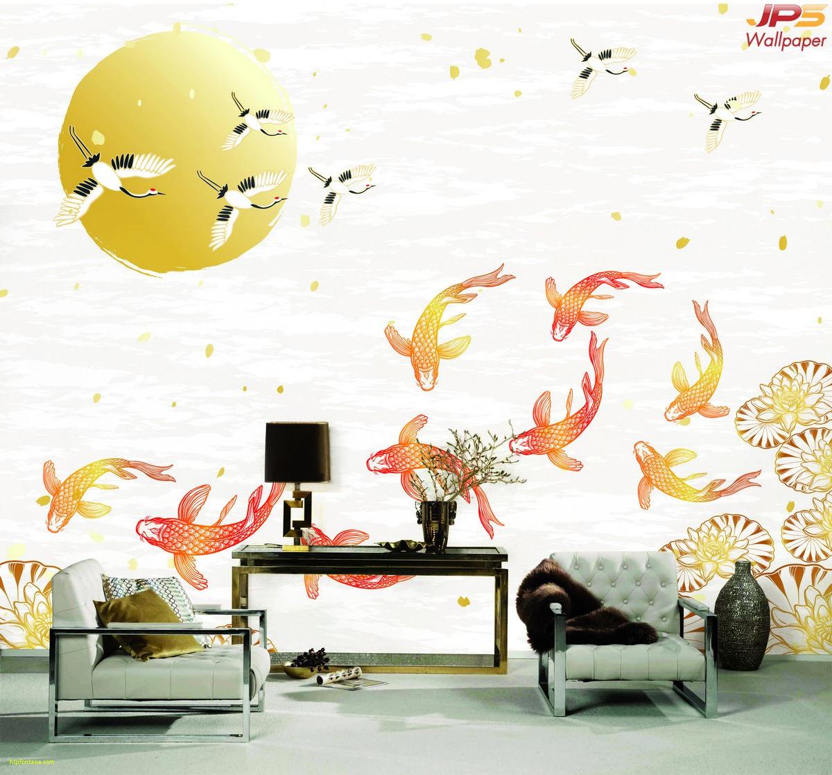 วอลเปเปอร์สั่งพิมพ์ลายสัตว์มงคล วอลเปเปอร์เสริมมงคล ฮวงจุ้ยแต่งบ้านด้วยรูปภาพ ภาพนกกระเรียน ภาพปลาคราฟ ภาพมงคลติดห้องนั่งเล่น