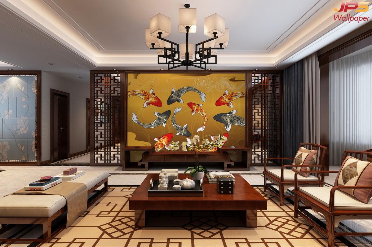วอลเปเปอร์สั่งพิมพ์ลายสัตว์มงคล วอลเปเปอร์เสริมมงคล ฮวงจุ้ยแต่งบ้านด้วยรูปภาพ รูปมงคลเรียกทรัพย์ ภาพปลาคราฟ ภาพมงคลติดห้องรับแขก