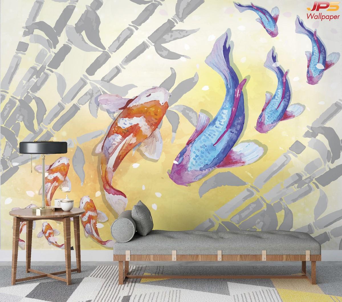วอลเปเปอร์สั่งพิมพ์ลายสัตว์มงคล ห้องนั่งเล่นเสริมมงคล รูปมงคลเรียกทรัพย์ ภาพมงคลติดห้องนั่งเล่น ภาพปลาคราฟ แต่งบ้านเสริมฮวงจุ้ย