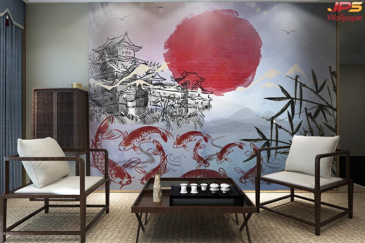 วอลเปเปอร์สั่งพิมพ์ลายสัตว์มงคล ห้องนั่งเล่นเสริมมงคล รูปมงคลเรียกทรัพย์ ภาพปลาคราฟ ภาพมงคลติดห้องนั่งเล่น แต่งห้องนั่งเล่นญี่ปุ่น