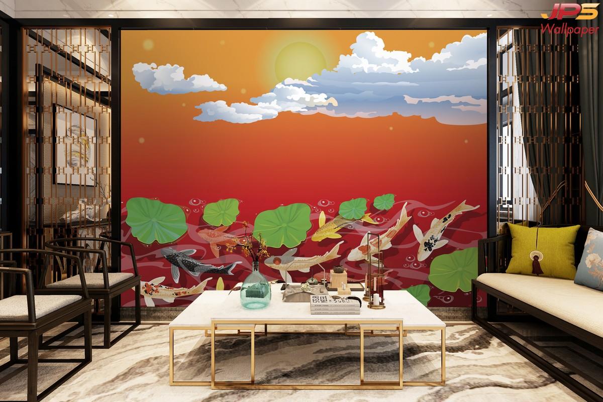 วอลเปเปอร์สั่งพิมพ์ลายสัตว์มงคล ห้องนั่งเล่นเสริมมงคล รูปมงคลเรียกทรัพย์ ภาพปลาคราฟ ภาพมงคลติดห้องนั่งเล่น ห้องนั่งเล่นสีแดง