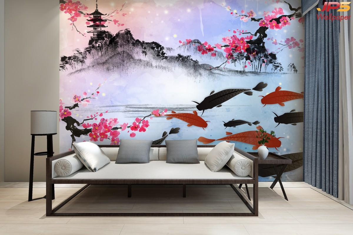 วอลเปเปอร์สั่งพิมพ์ลายสัตว์มงคล ห้องนั่งเล่นเสริมมงคล รูปมงคลเรียกทรัพย์ ภาพปลาคราฟ ภาพมงคลติดห้องนั่งเล่น