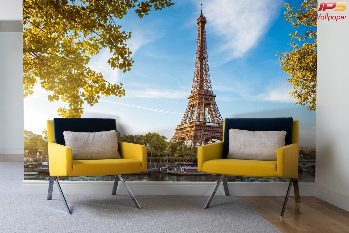 วอลเปเปอร์ผนังลายปารีส ภาพหอไอเฟล วอลเปเปอร์ลายหอไอเฟล สั่งตัดรูปหอไอเฟลติดผนัง