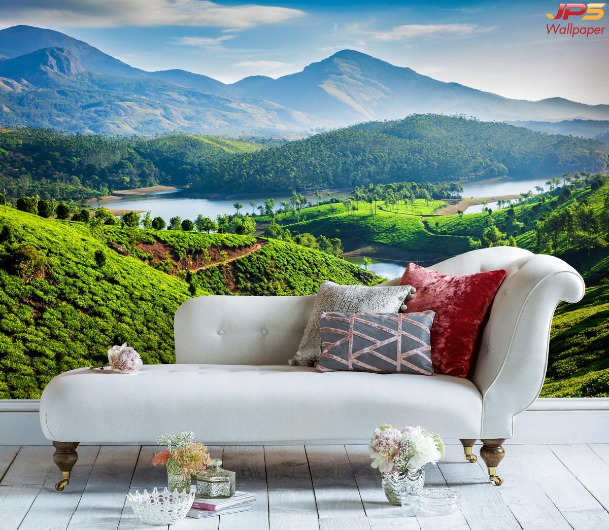 วอลเปเปอร์ลายธรรมชาติภูเขา ตกแต่งห้องนั่งเล่น