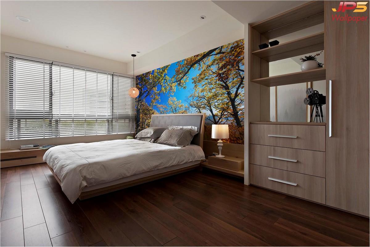 วอลเปเปอร์ลายธรรมชาติพื้นฟ้า ตกแต่งห้องนอน วอลเปเปอร์ห้องนอน