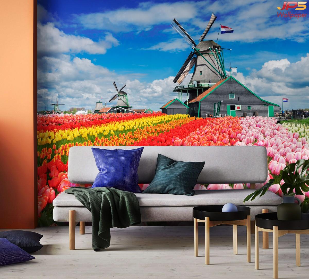 วอลเปเปอร์ลายธรรมชาติดอกไม้ ตกแต่งห้องนั่งเล่น วอลเปเปอร์ห้องนั่งเล่น