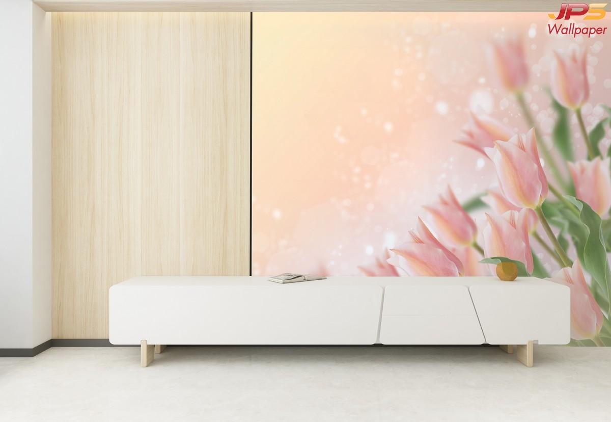วอลเปเปอร์ผนังลายสวนป่าพื้นชมพู วอลเปเปอร์ดอกฟิลลิป ภาพดอกไม้สีชมพูติดห้องรับแขก