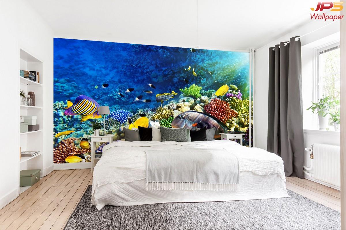 วอลเปเปอร์ลายธรรมชาติใต้ทะเล ตกแต่งห้องนอน