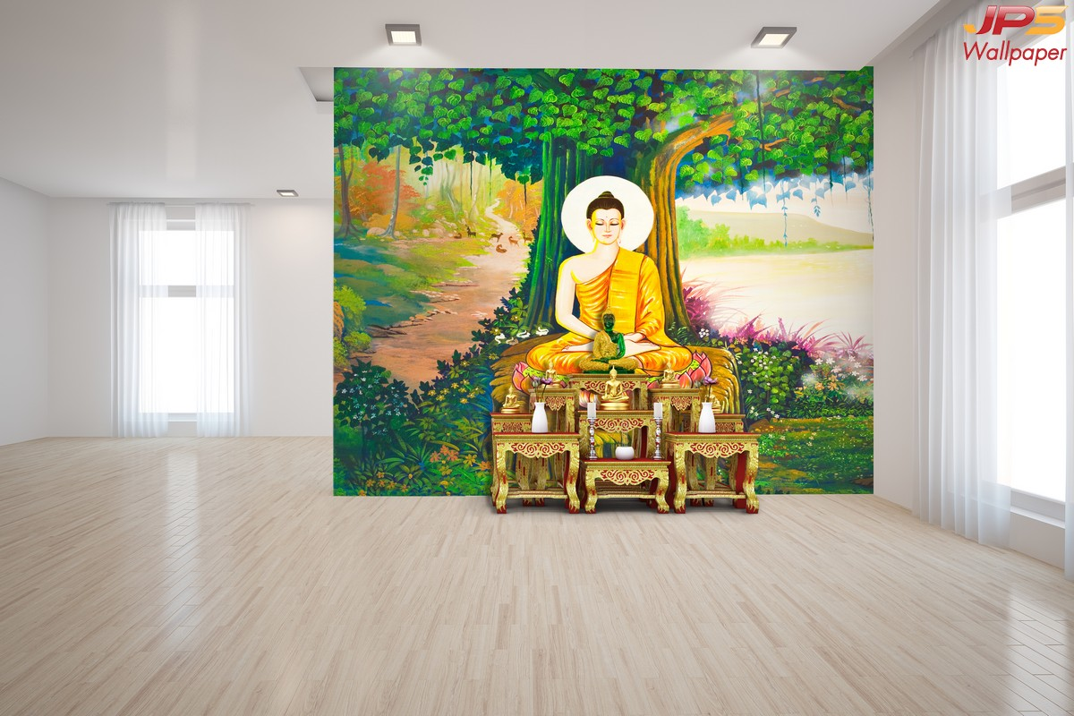 วอลเปเปอร์ลายพุทธประวัติ ห้องพระลายพระพุทธเจ้า ภาพพระพุทธเจ้าตรัสรู้ใต้ต้นโพธิ์ ห้องพระลายต้นโพธิ์