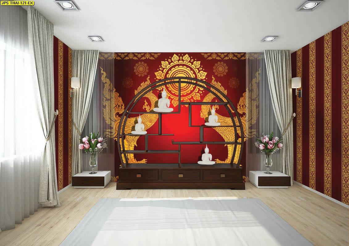 วอลเปเปอร์ลายหงษ์คู่พื้นแดง วอลเปเปอร์ห้องพระ ตกแต่งห้องพระลายหงษ์ แต่งห้องพระสวย ผนังห้องพระลายหงษ์ วอลเปเปอร์ลายหงษ์