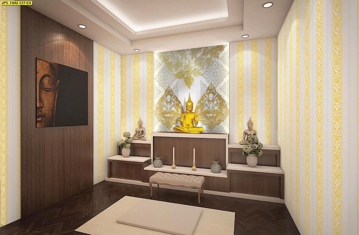 วอลเปเปอร์เทวดาพนมมือพื้นเทา วอลเปเปอร์ห้องพระ ตกแต่งห้องพระลายเทวดา ผนังห้องพระลายไทย ผนังห้องพระลายเทพนม