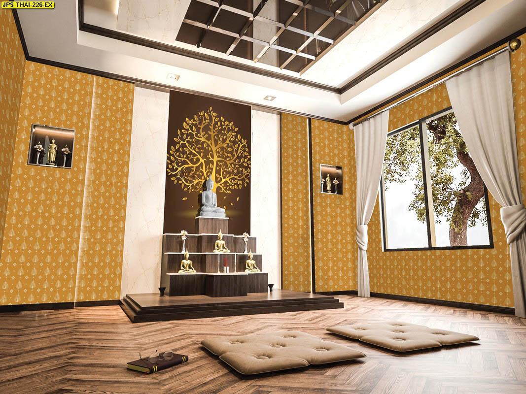 วอลเปเปอร์ต้นโพธิ์พื้นน้ำตาล วอลเปเปอร์ห้องพระ ตกแต่งห้องพระลายต้นโพธิ์ ผนังห้องพระลายต้นโพธิ์ วอลเปเปอร์ต้นโพธิ์