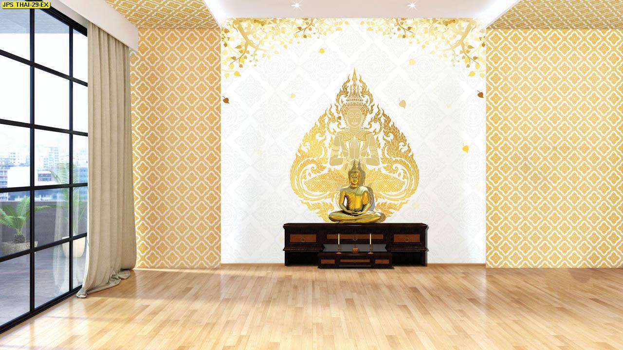 วอลเปเปอร์เทวดาพนมมือพื้นขาว วอลเปเปอร์ห้องพระ ตกแต่งห้องพระลายเทวดา ผนังห้องพระลายไทย ผนังห้องพระลายเทพนม