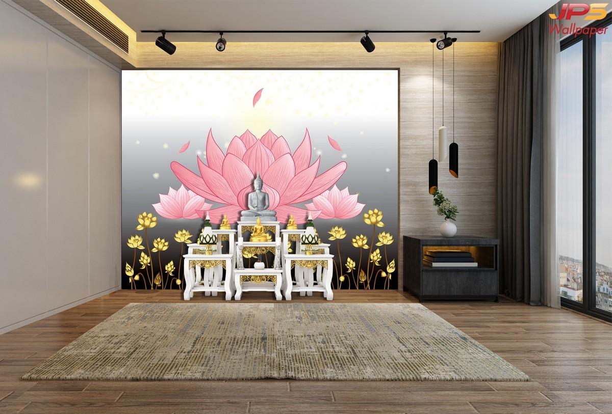 วอลเปเปอร์ลายดอกบัวพื้นเทา วอลเปเปอร์ห้องพระลายไทย แต่งผนังห้องพระลายดอกบัว ผนังห้องพระในสำนักงาน