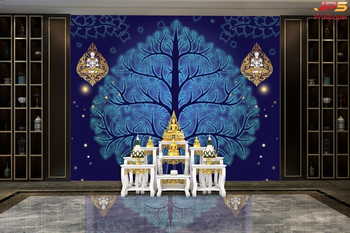 วอลเปเปอร์เทวดาพนมมือพื้นน้ำเงิน วอลเปเปอร์ห้องพระ ตกแต่งห้องพระลายเทวดา ผนังห้องพระลายไทย ผนังห้องพระลายเทพนม