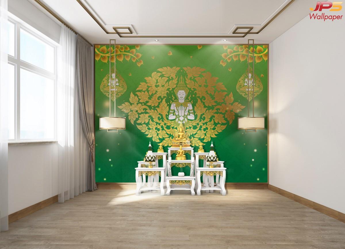 วอลเปเปอร์เทวดาพนมมือพื้นเขียว วอลเปเปอร์ห้องพระ ตกแต่งห้องพระลายเทวดา ผนังห้องพระลายไทย ผนังห้องพระลายเทพนม
