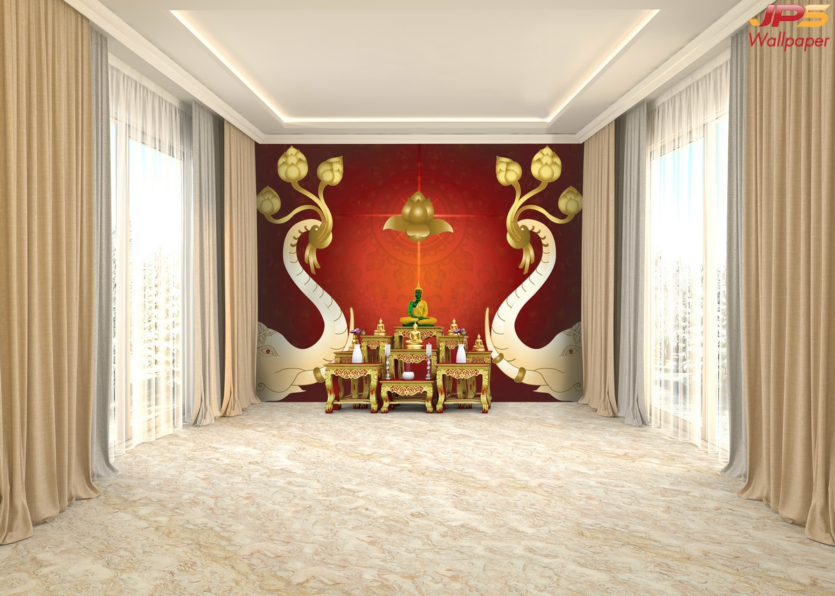 วอลเปเปอร์ลายช้างคู่ไทยพื้นแดง-ทอง ผนังห้องพระลายไทย แต่งผนังห้องพระในบ้าน ตกแต่งห้องพระลายช้างคู่ ติดผนังลายช้าง วอลเปเปอร์ลายช้างชูดอกบัว