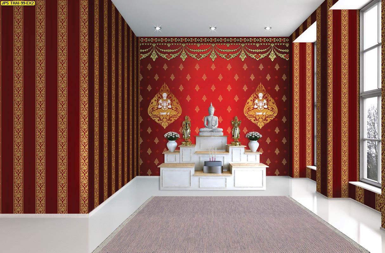 วอลเปเปอร์เทวดาพนมมือพื้นแดง วอลเปเปอร์ห้องพระ ตกแต่งห้องพระลายเทวดา ผนังห้องพระลายไทย ผนังห้องพระลายเทพนม