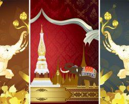 วอลเปเปอร์ลายไทยช้าง ตกแต่งผนังห้องพระลายไทย
